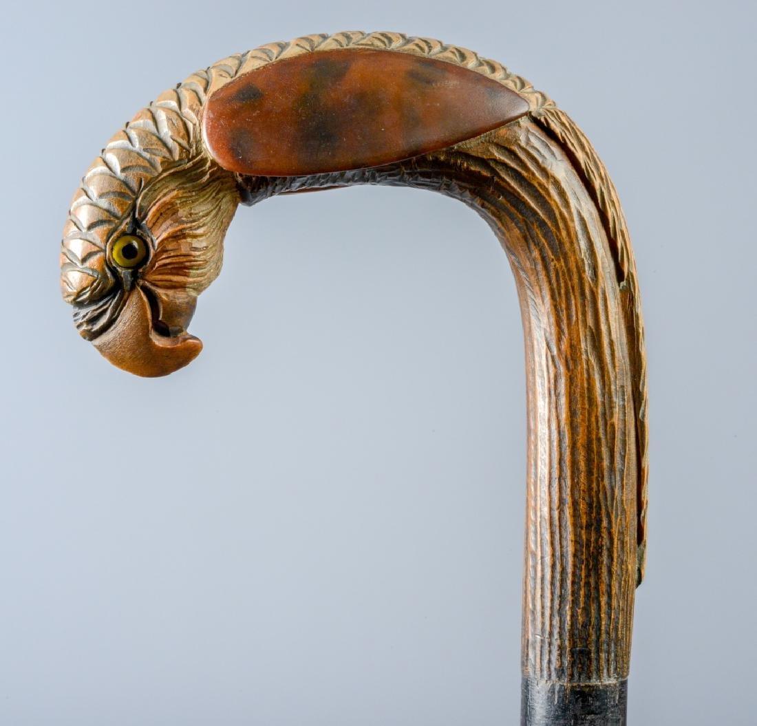 Antique Wooden Eagle w/ Glass Eyes Walking Cane