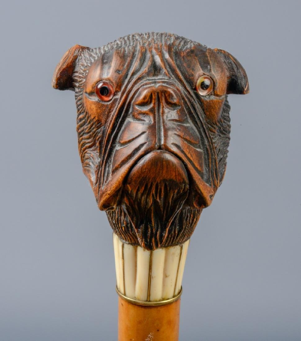 Antique Carved Articulated Boxer Dog Walking Cane