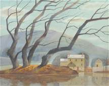 PAUL RIBA Mountain Willows Landscape Oil Painting