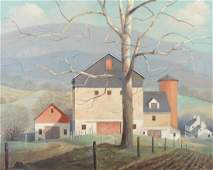 PAUL RIBA Homestead Rural Farm Landscape Painting