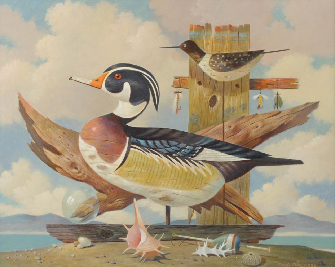 PAUL RIBA Alert Duck Decoy Still Life Oil Painting