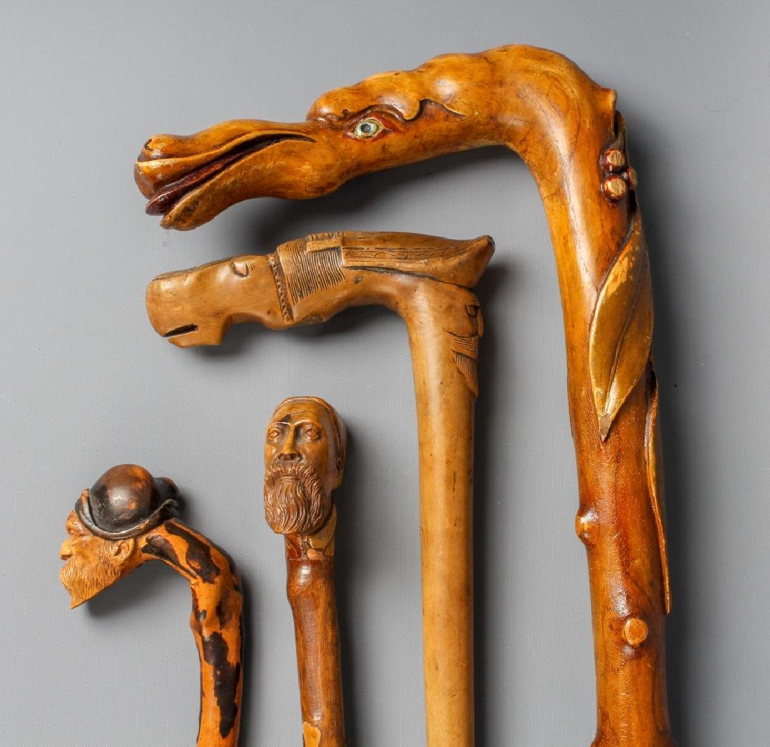 4 Antique Figural Carved Wood Walking Stick Cane
