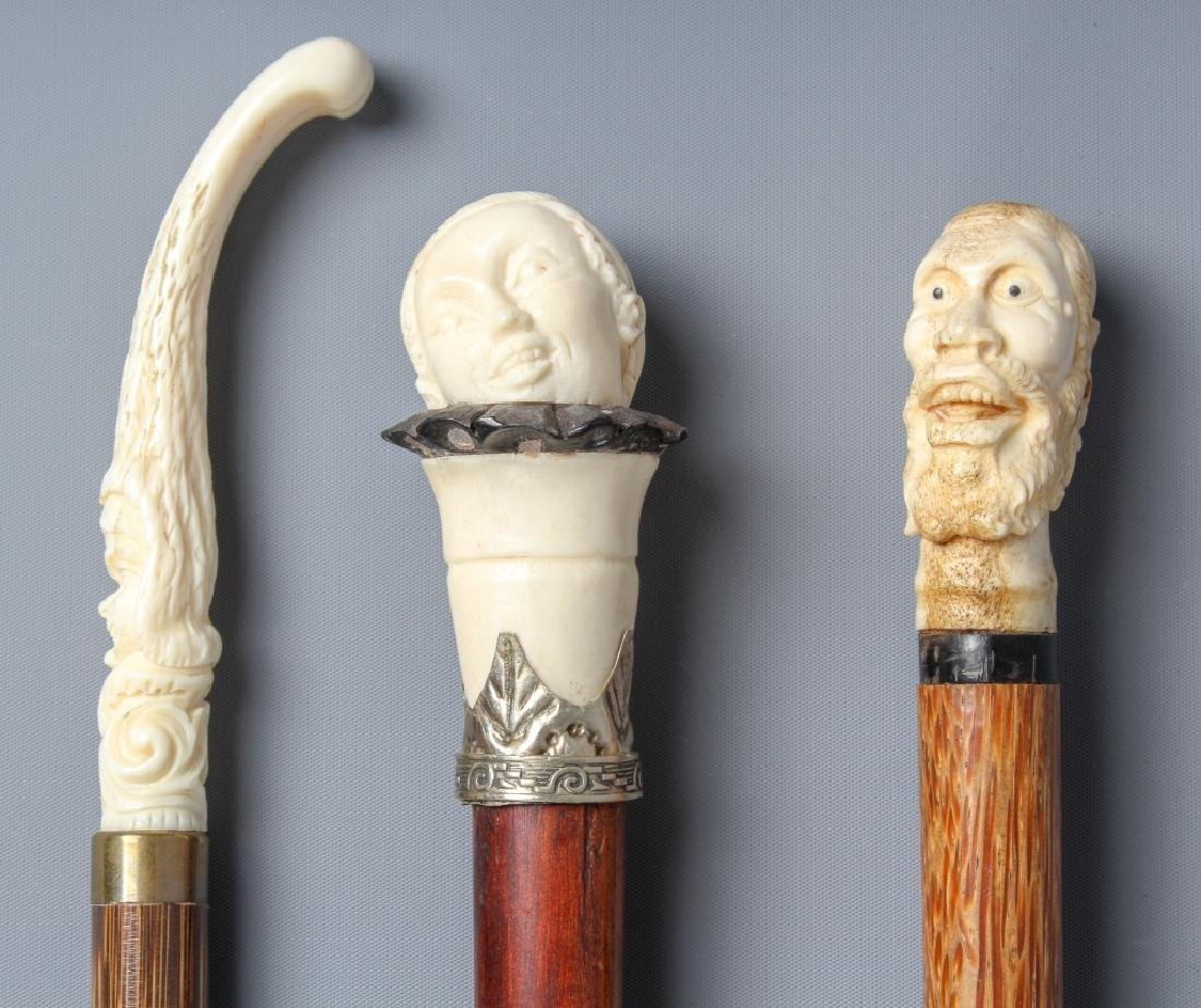 3 Antique Carved Bone Figural Face Walking Cane