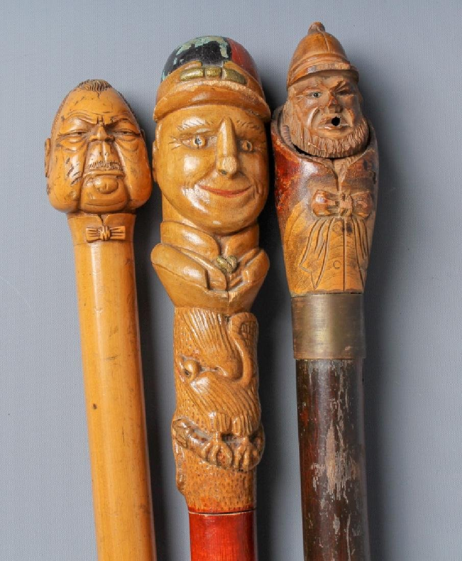 3 Antique Carved Wood Figural Face Walking Cane