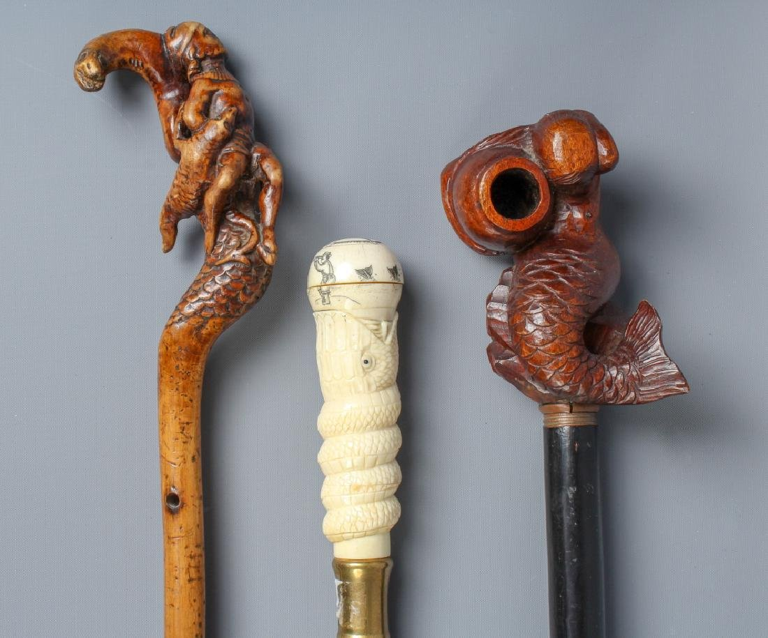 3 Carved Sea Nautical Figural Walking Stick Cane