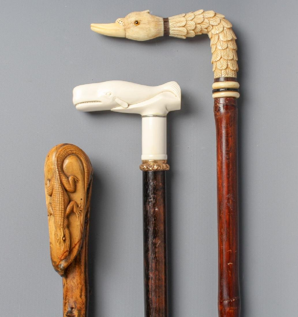 3 Antique Carved Figural Animal Walking Stick Cane