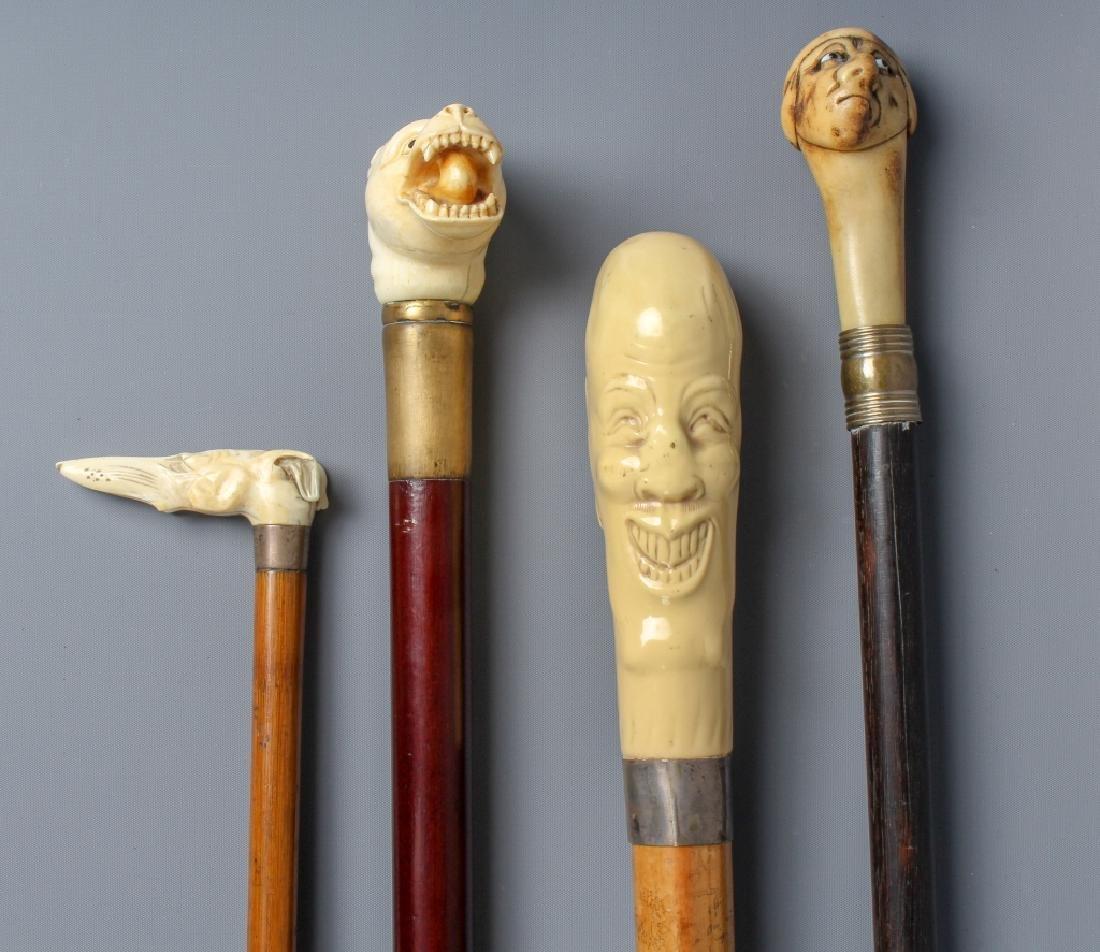 4 Antique Figural Walking Stick Cane & Riding Crop