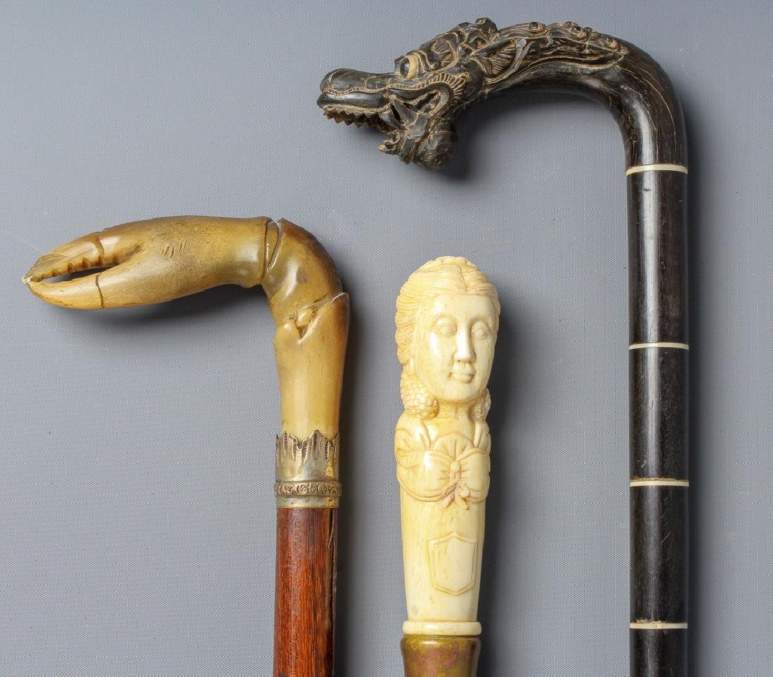 3 Asian Carved Figural Dragon Walking Stick Cane