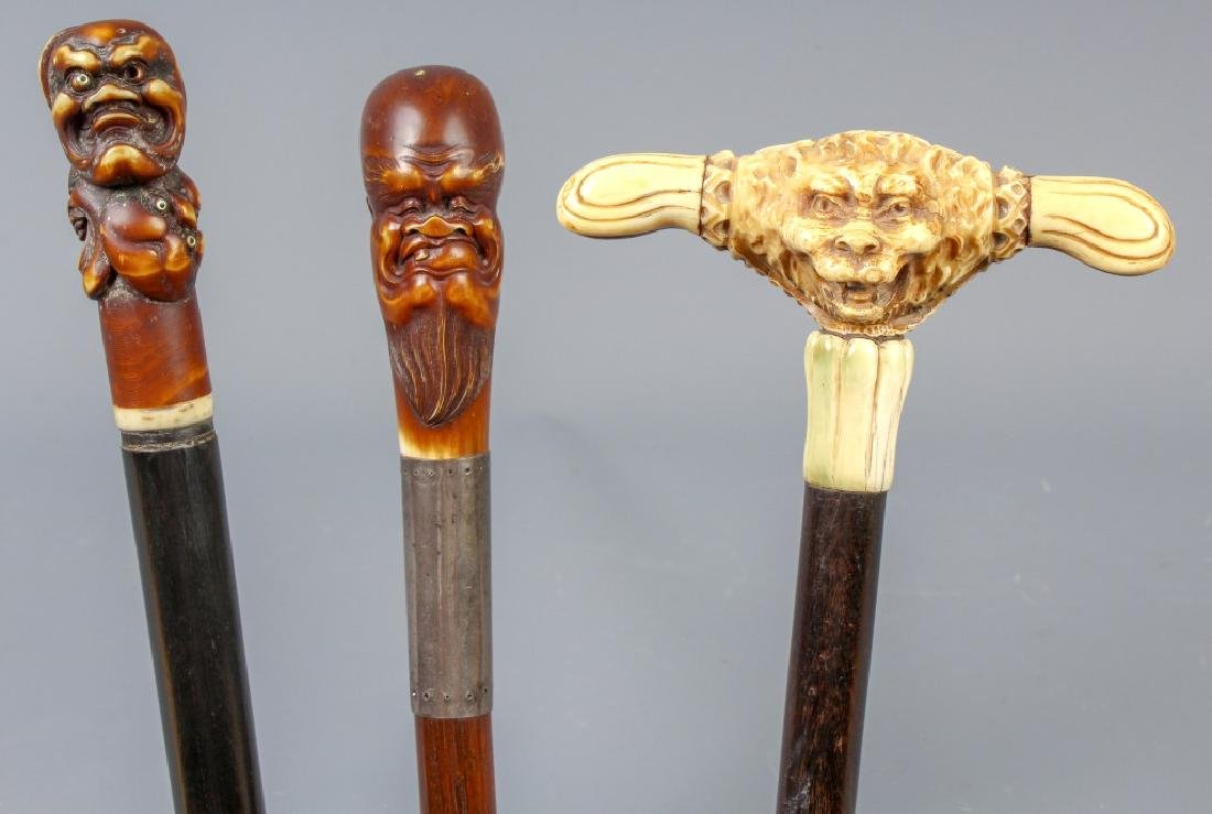 3 Asian Carved Figural, Dragon Walking Stick Cane