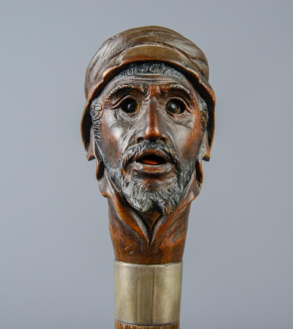Articulated Figural Orientalist Walking Stick Cane