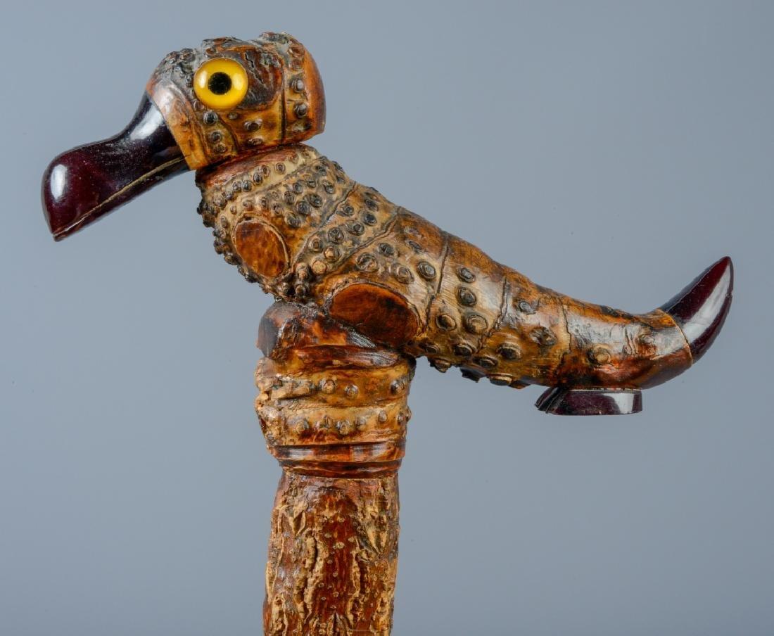 Bird Motif Walking Stick Cane w/ Amber Bakelite