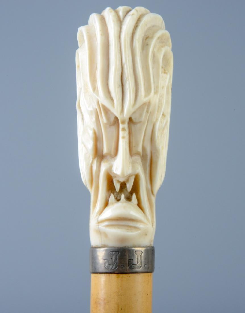 ROGER FOY Carved SCREAMER Walking Stick Cane RARE