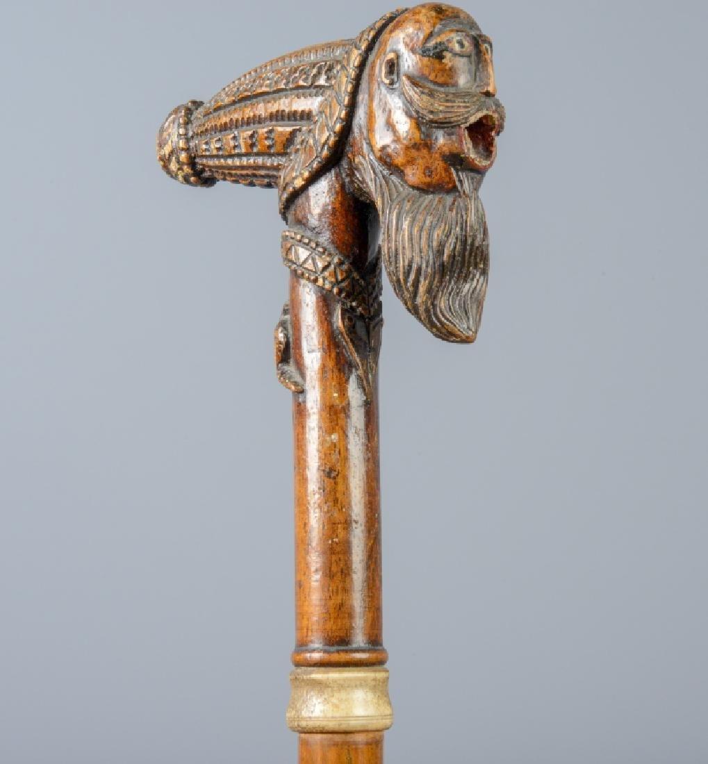 Antique Folk Art Carved Smoking Pipe Walking Cane