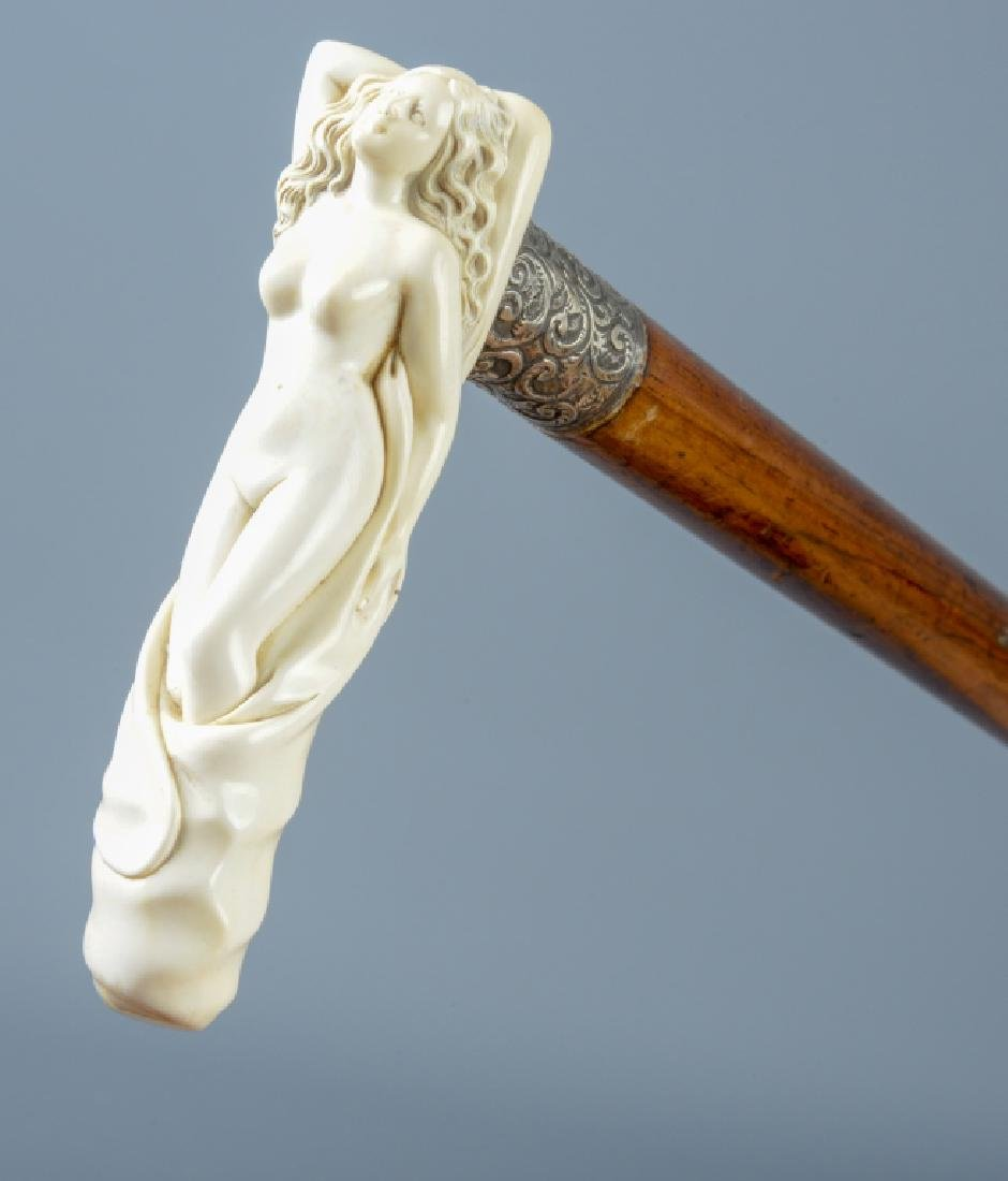 """Antique Reclining NUDE Lady Walking Stick Cane 33"""""""