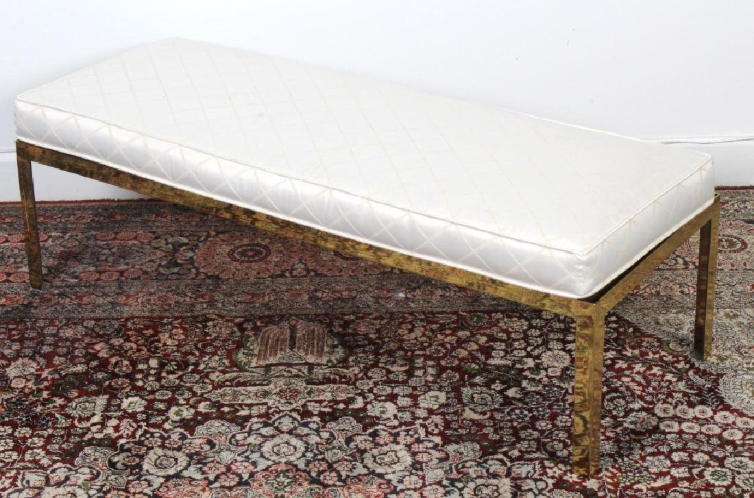 Modern Polished Brass Upholstered Chair Seat Bench