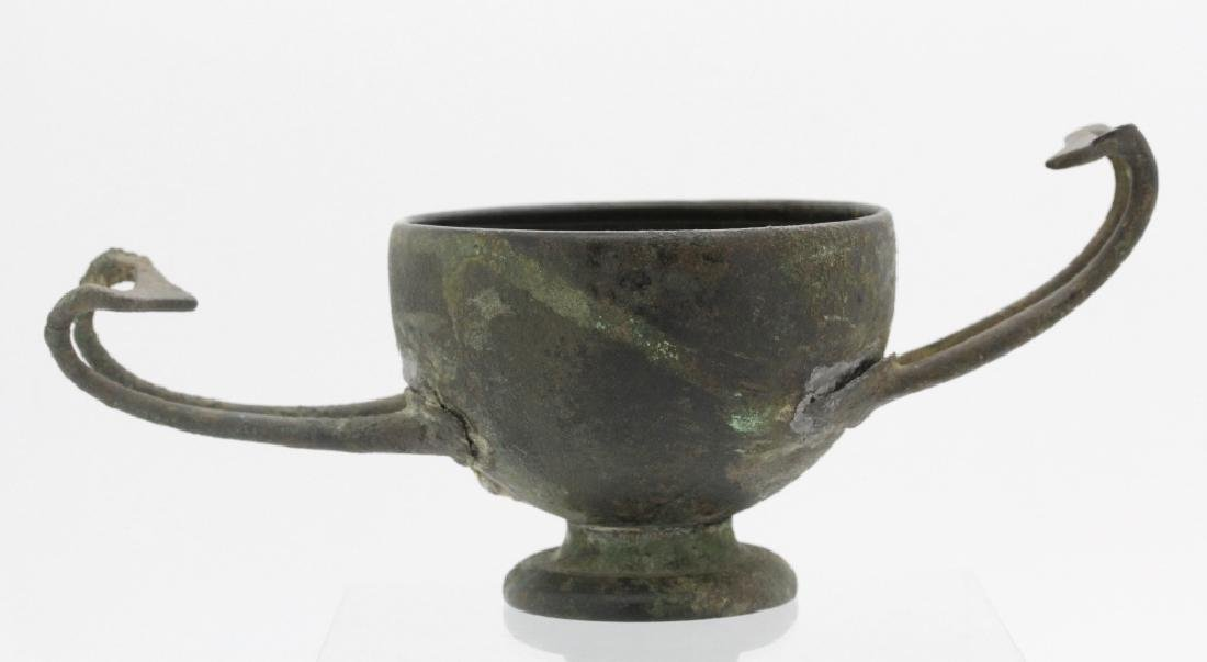 Ancient Greek Mycenaean Bronze Handled Wine Cup