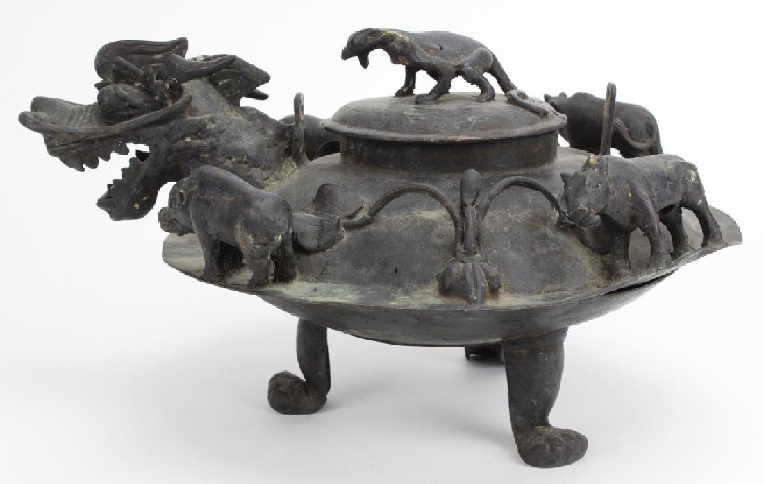 Chinese Koro Incense Burner With Dragon Spout