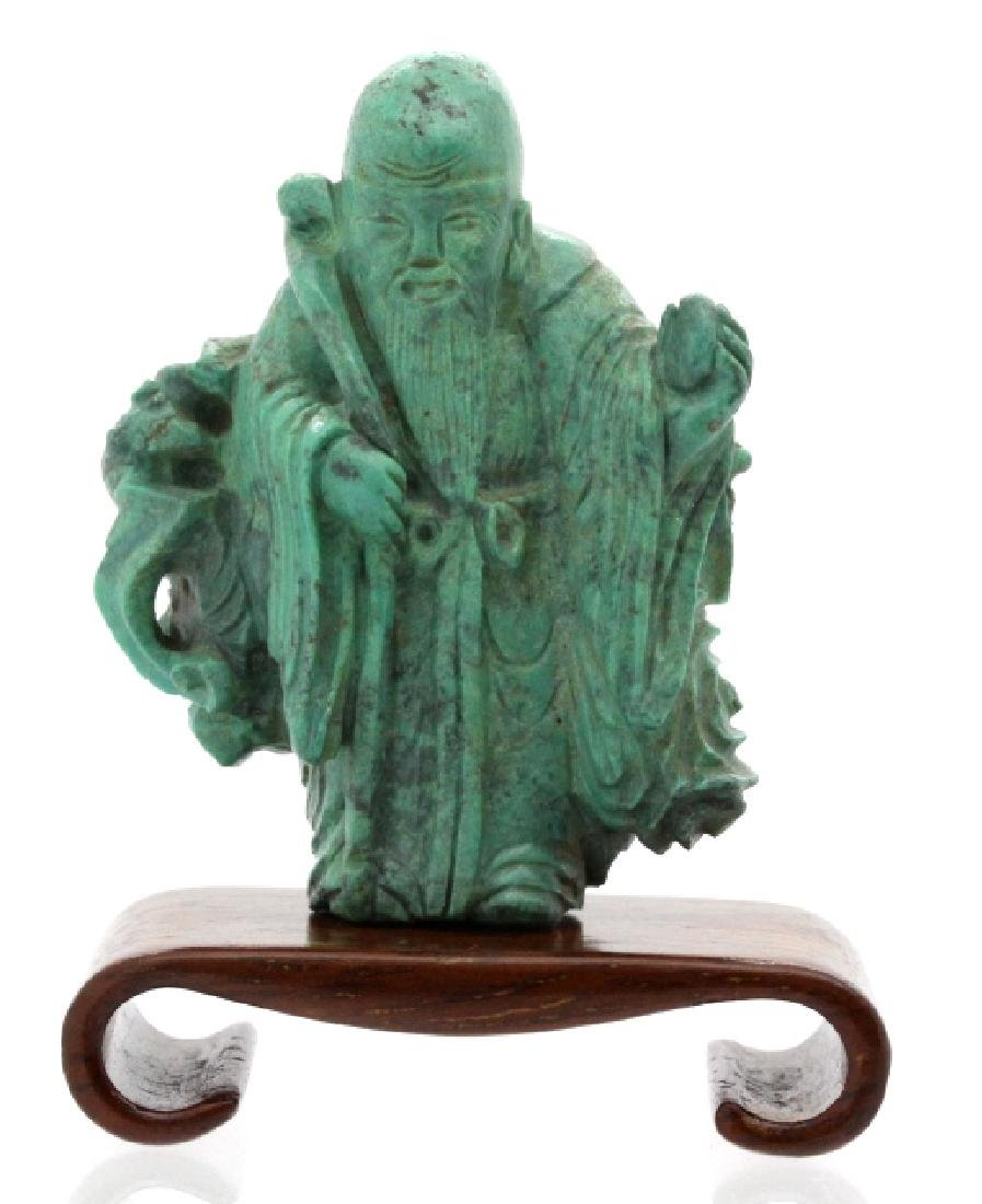 Chinese Carved Green Turquoise Wise Man Figure