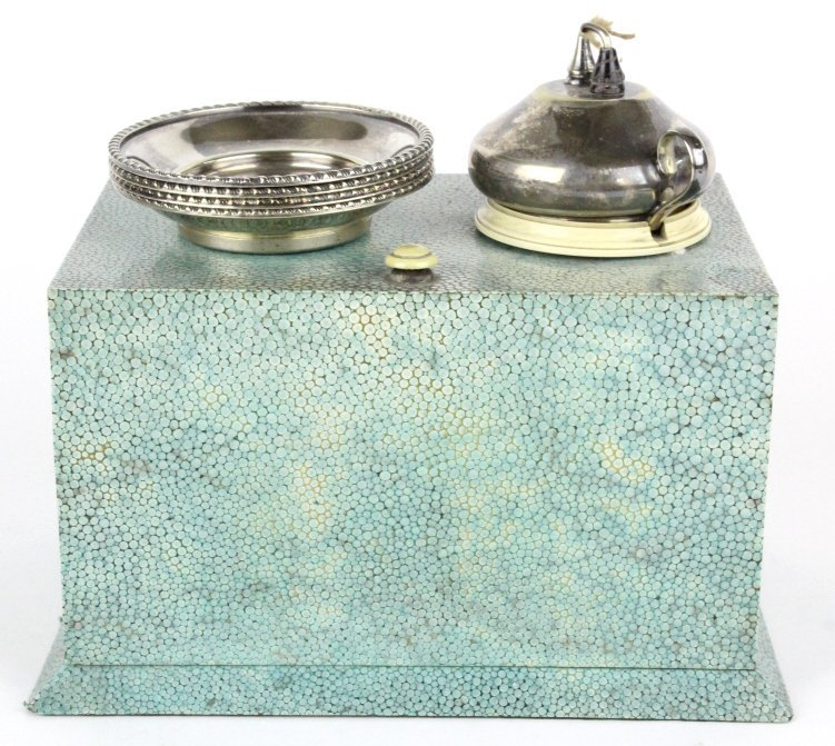 VTG Shagreen Silverplate Table Lighter w/ Ashtrays