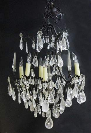 French Cut Rock Crystal Iron 8 Light Chandelier