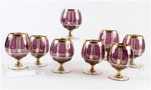 8 MOSER Bohemian Amethyst Balloon Snifter Glass