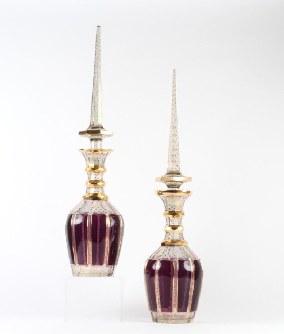 MOSER Bohemian Large Amethyst Decanters w Stoppers