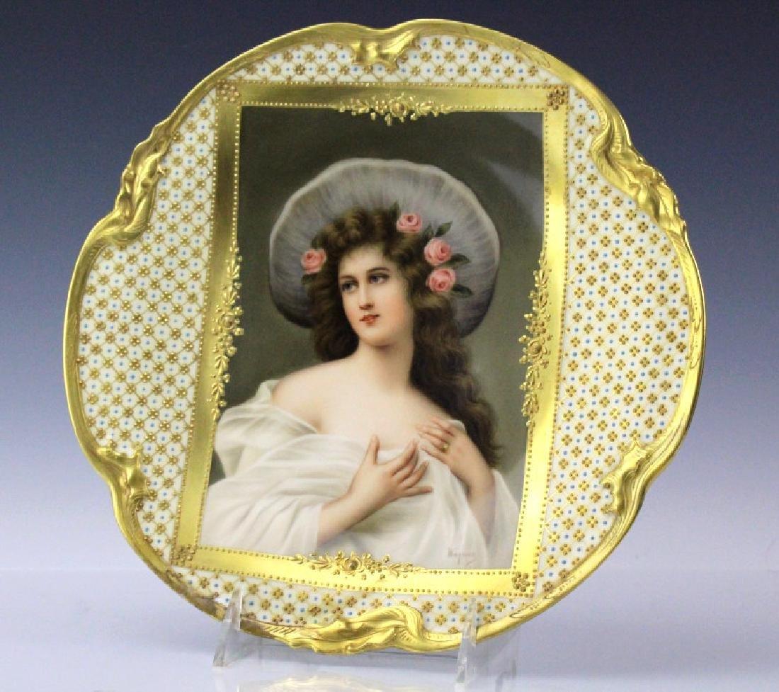 """SIGNED Wagner Dresden Porcelain Portrait Plate 10"""""""