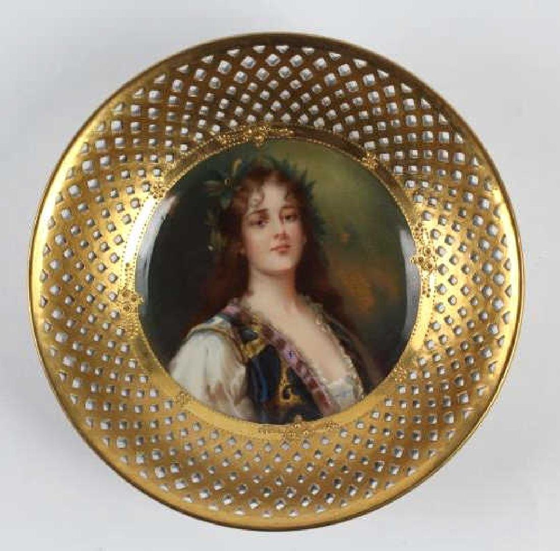 Dresden Reticulated Porcelain Painted Maiden Bowl