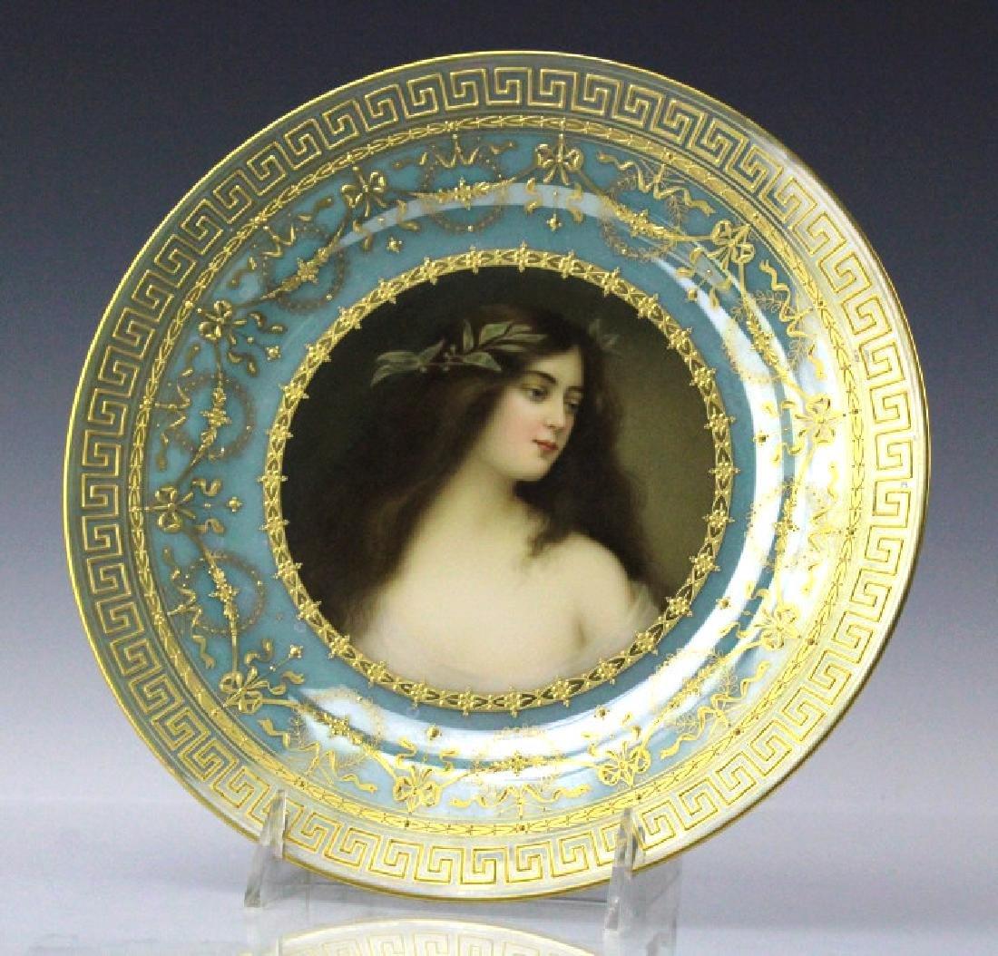 """Royal Vienna Porcelain Maiden Portrait Plate 9"""""""