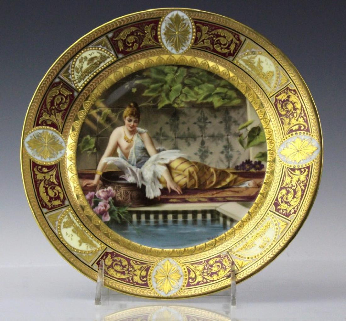 """Royal Vienna Porcelain Maiden Portrait Plate 8.75"""""""