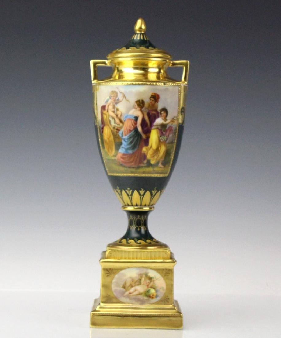 Royal Vienna Style Hand Painted Porcelain Urn, Lid