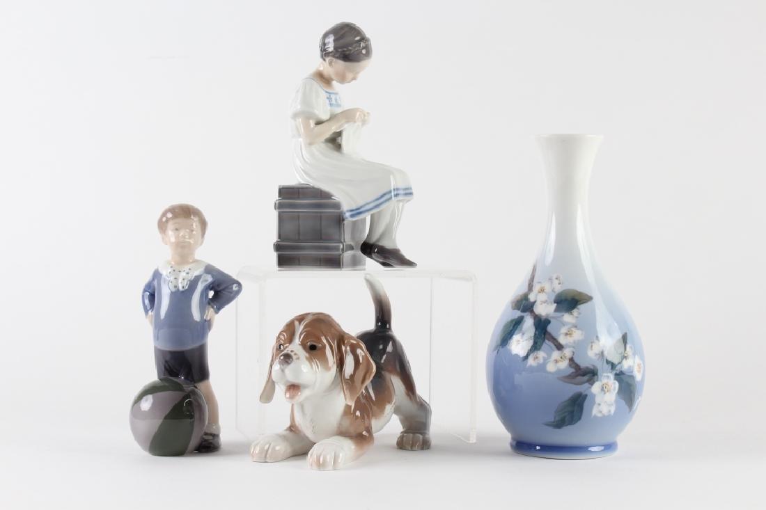 4pc LOT Royal Copenhagen Child Dog Figurine Vase