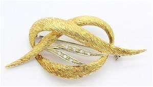 FINE 18K Yellow GOLD Diamond Knot Brooch Pin 9.4gr