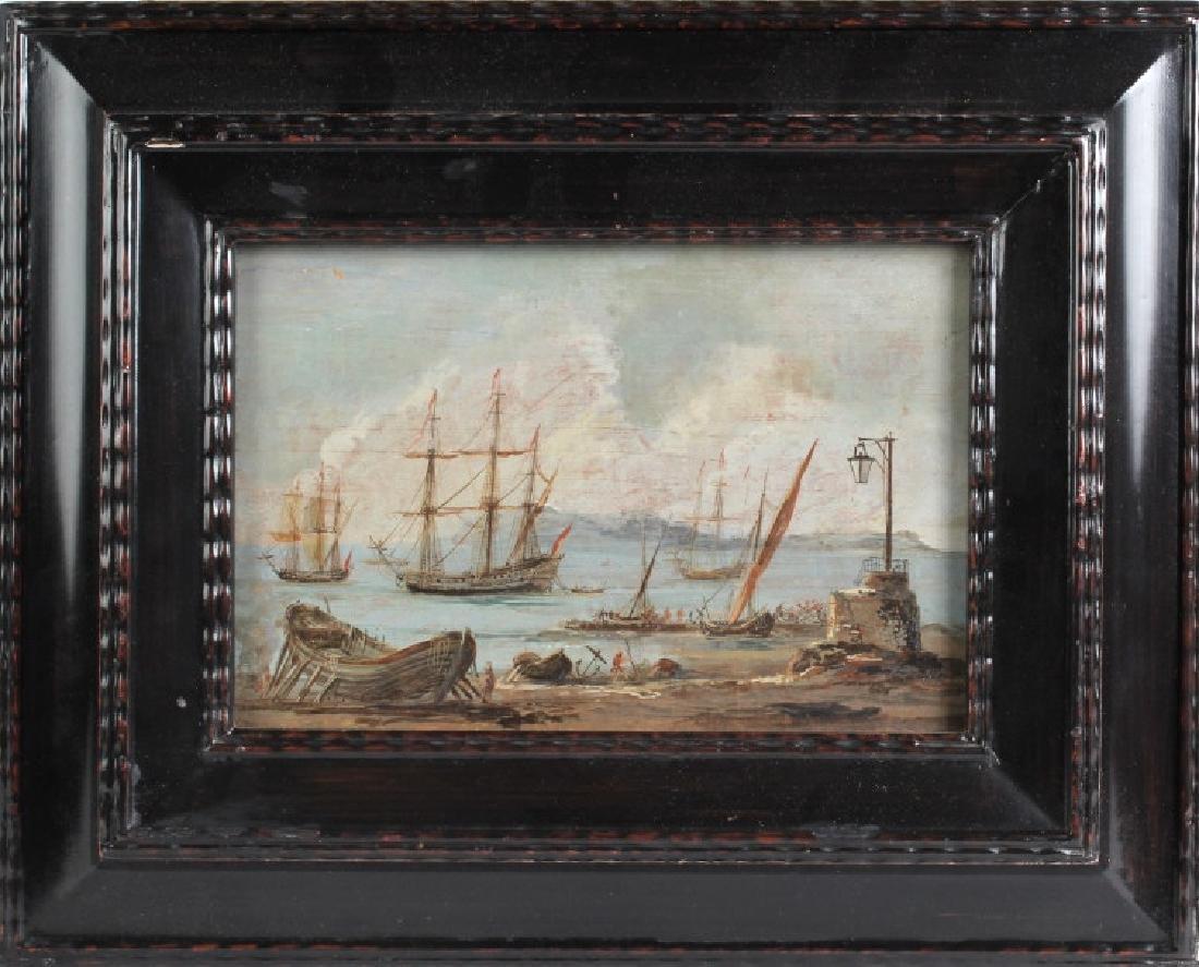 Antique Dutch 18th Century Seascape Oil Painting