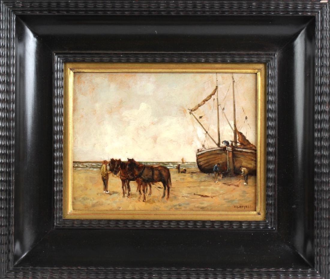 George Loftus Noyes Horse Team Ship Oil Painting