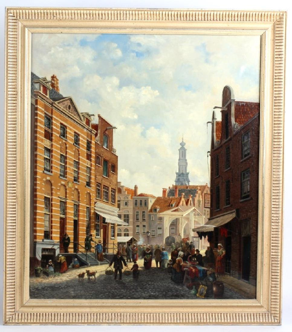 Dutch Market Square Street Cityscape Oil Painting