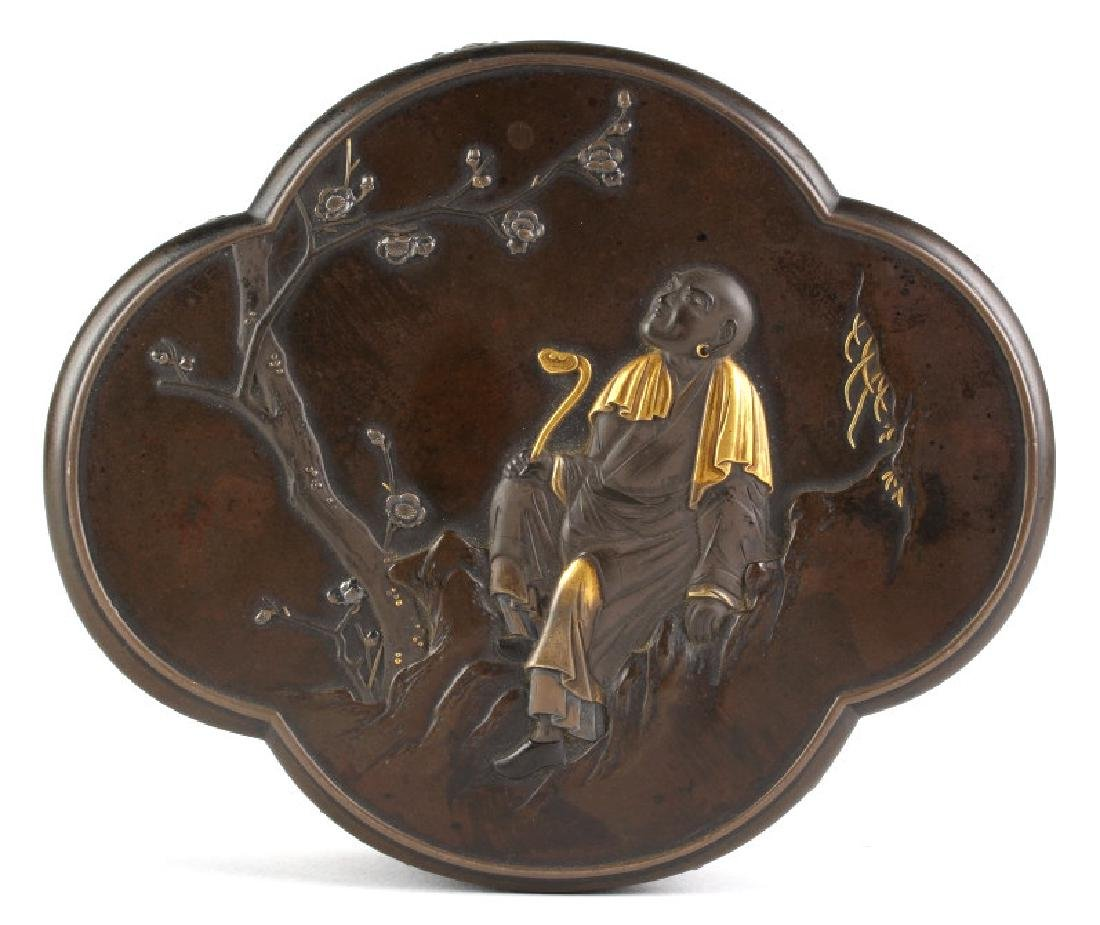 Meiji Period Fine Japanese Silver Gold Bronze BOX