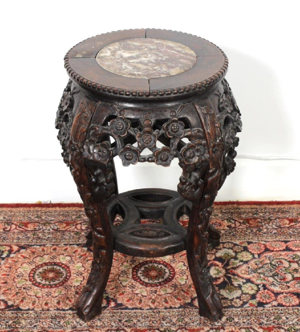 Chinese Marble Inset Carved Wood End Table Stand
