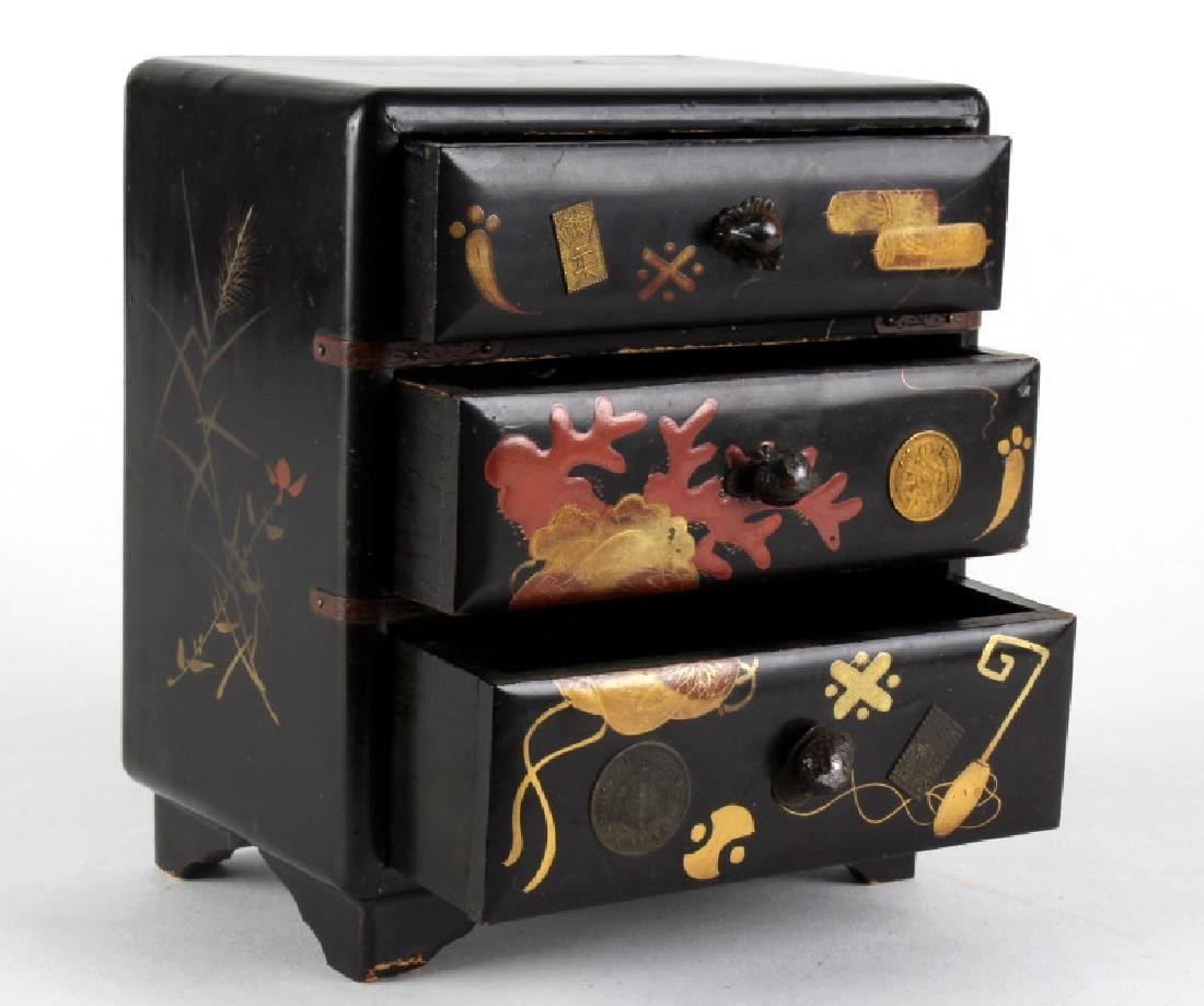 Chinese Lacquer Coin Motif Mini Chest Of Drawers