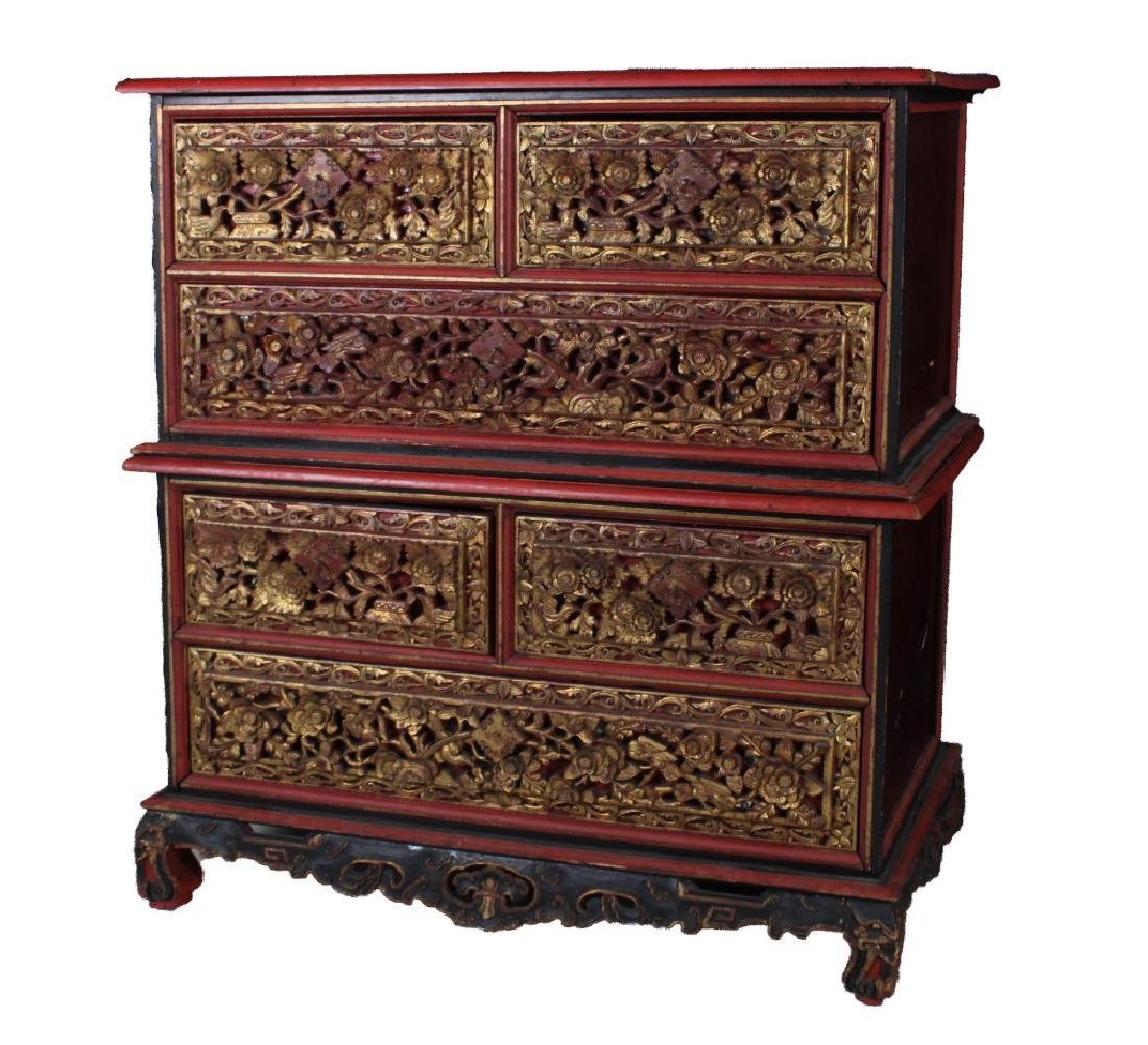 Old Chinese Deep Carved Gilt Wood Drawers w/ Base