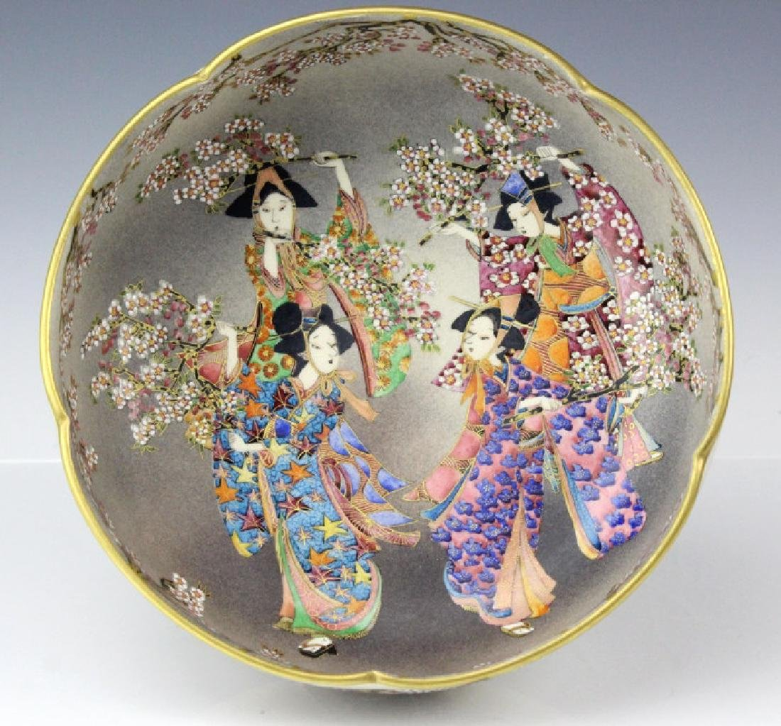 Meiji Period Japanese Satsuma Figural Bowl SIGNED