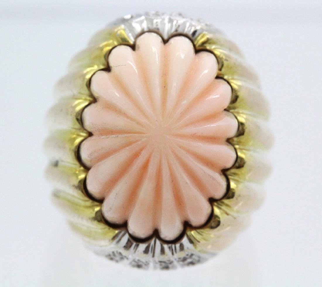 14K Gold  Angel Skin Coral Diamond s 7 Ring 25.8gr