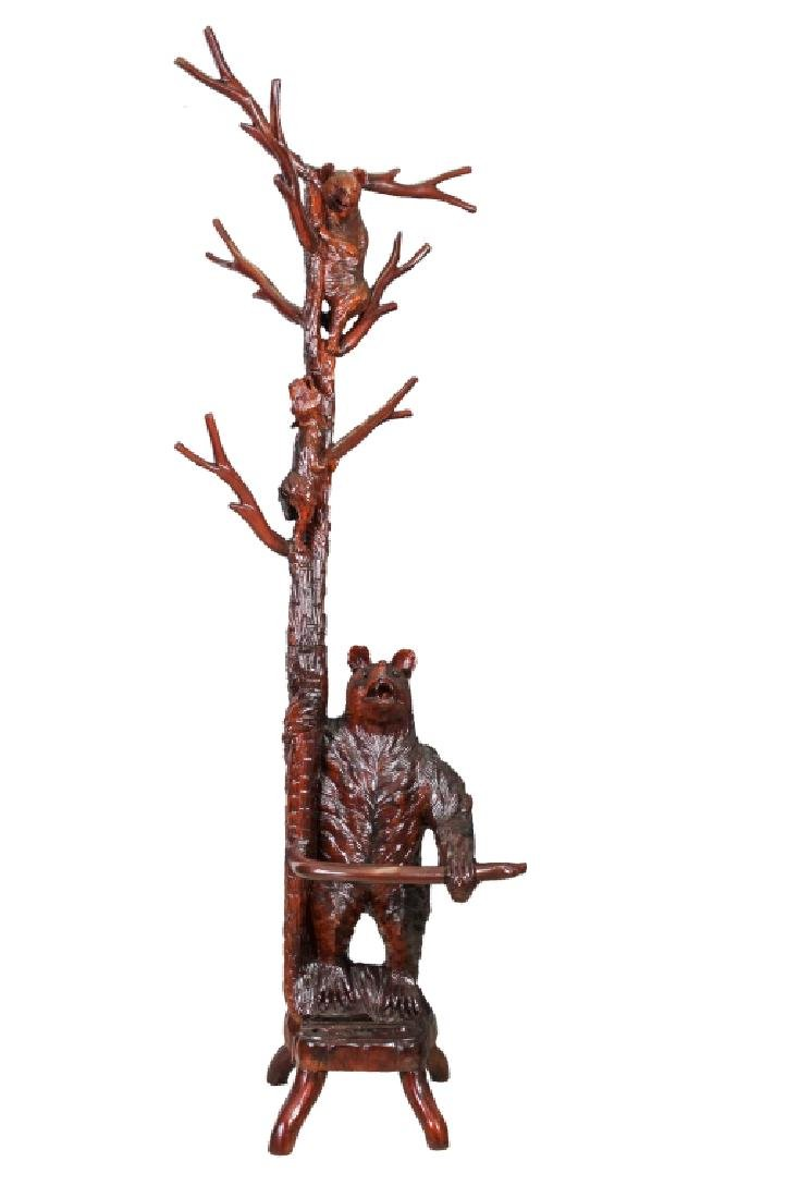 Black Forest Style Carved Bear Hall Tree Stand 88""