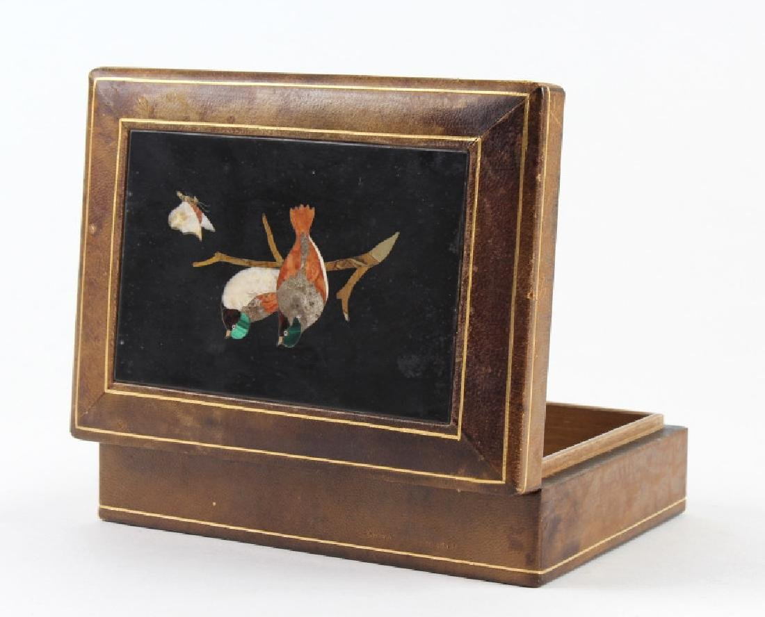 Love Birds Pietra Dura Gemstone Mosaic Top Box 6""