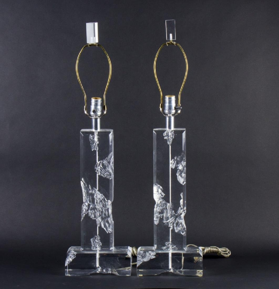 Modern LUCITE Mid Century Carved Ice Table Lamps