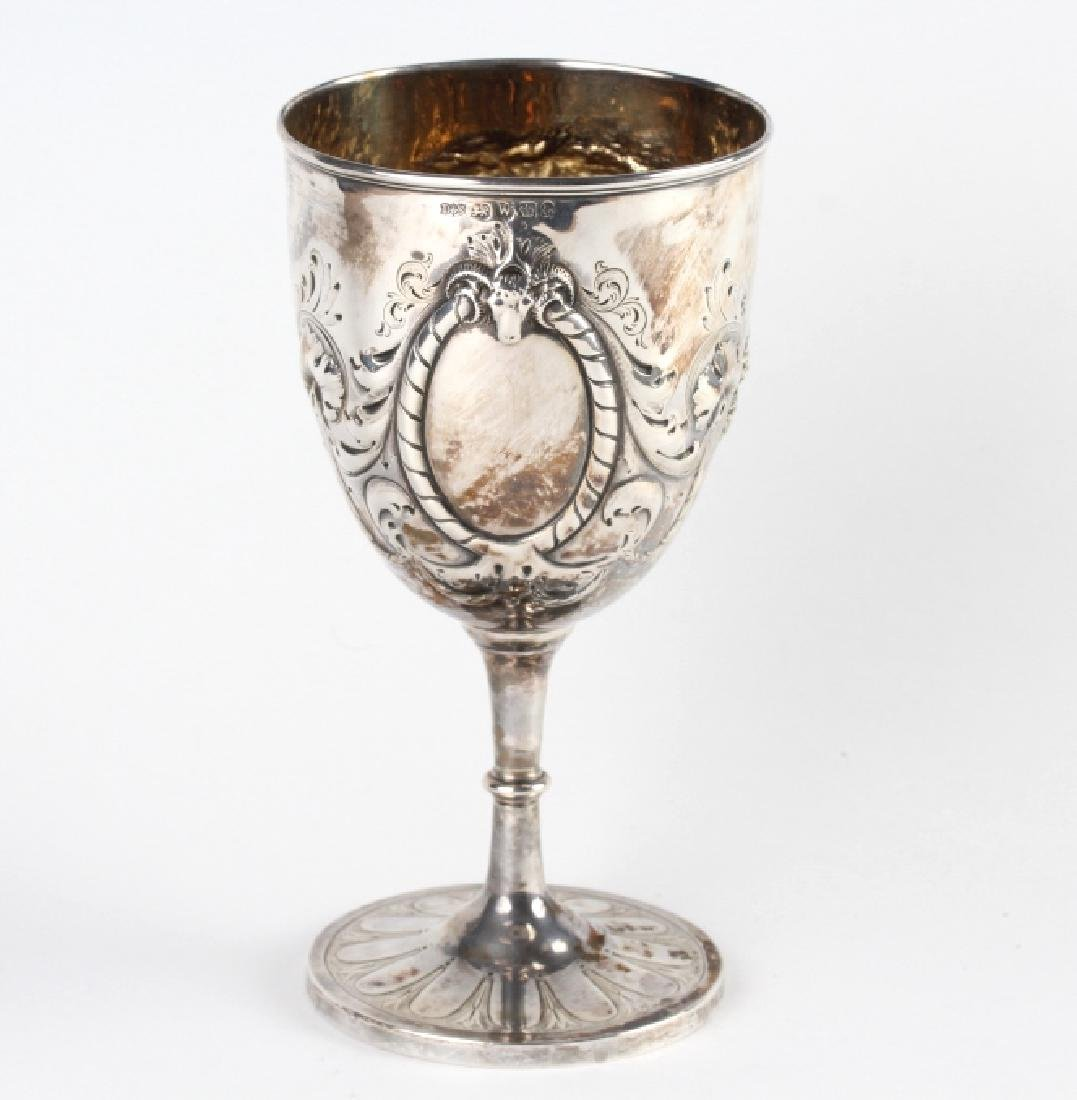Antique English Sterling Silver Repousse Goblet 7""