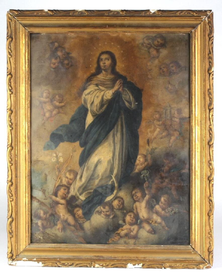 Spanish Colonial Immaculate Conception Painting