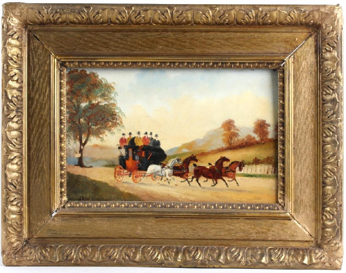 19th C Coach Oil Painting, Manner of Henry Alken