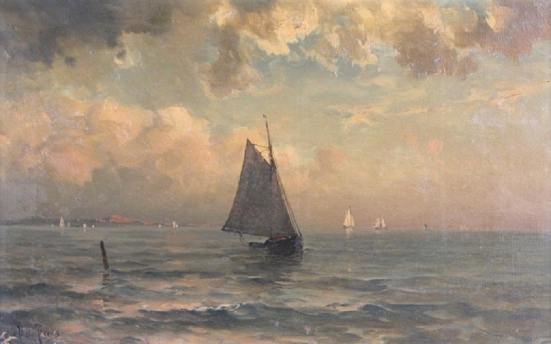 Artist Signed Coastal Sailboat Seaside Painting