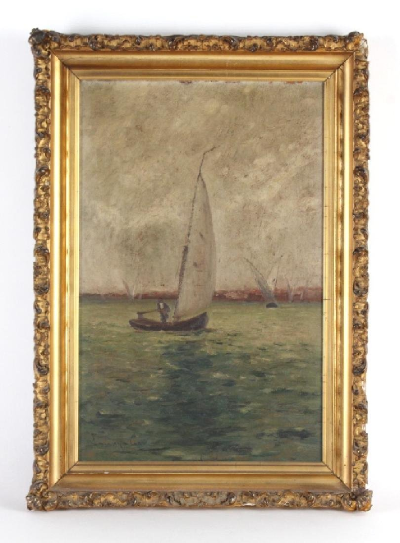 Signed EDWARD GAY Coastal Sailboat Oil Painting